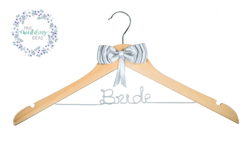 Bride Personalised Wooden Coat Hanger Silver Bow Style