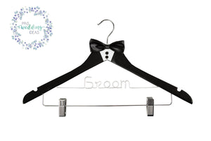 Groom  Wooden Coat Hanger with Clips  Tuxedo Style