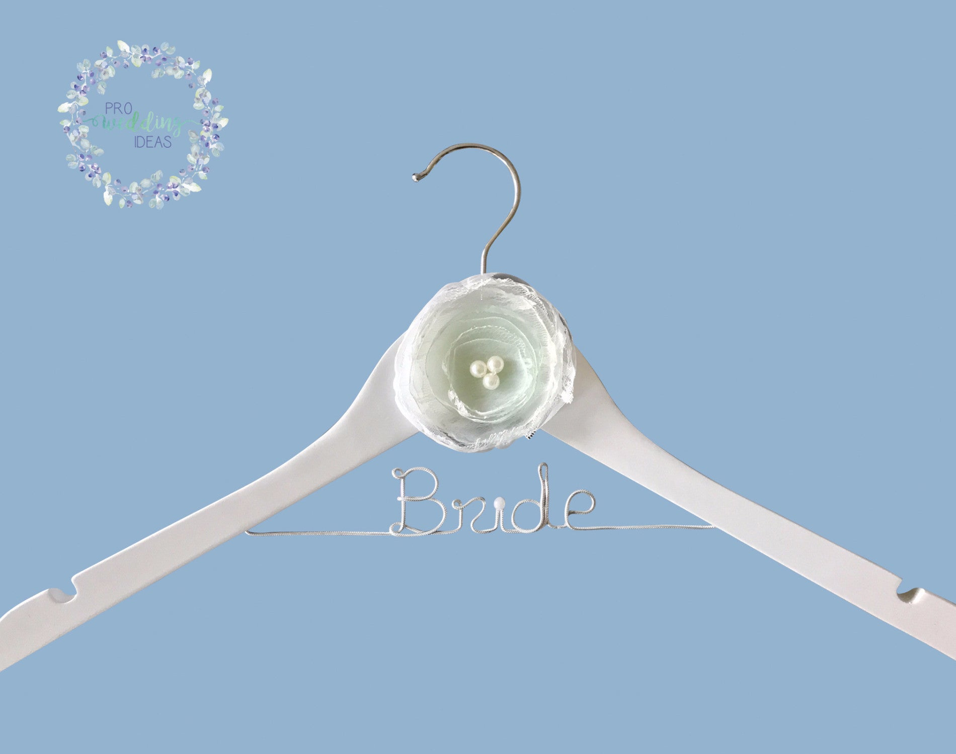 Bride - Personalised white Wooden Coat Hanger White Style 06