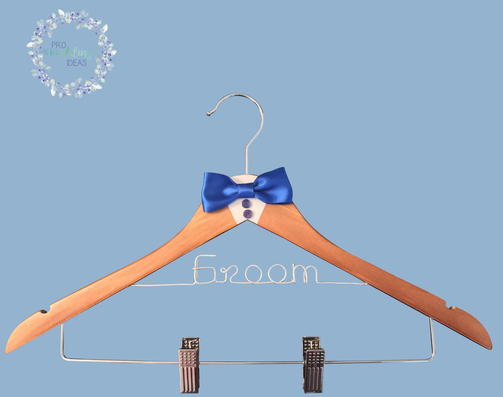 Groom Wooden Coat Hanger with Clips  Tuxedo Blue Style