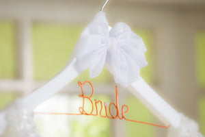 Bride Wooden Coat Hanger Personalised Handmade Large Bow Style 05