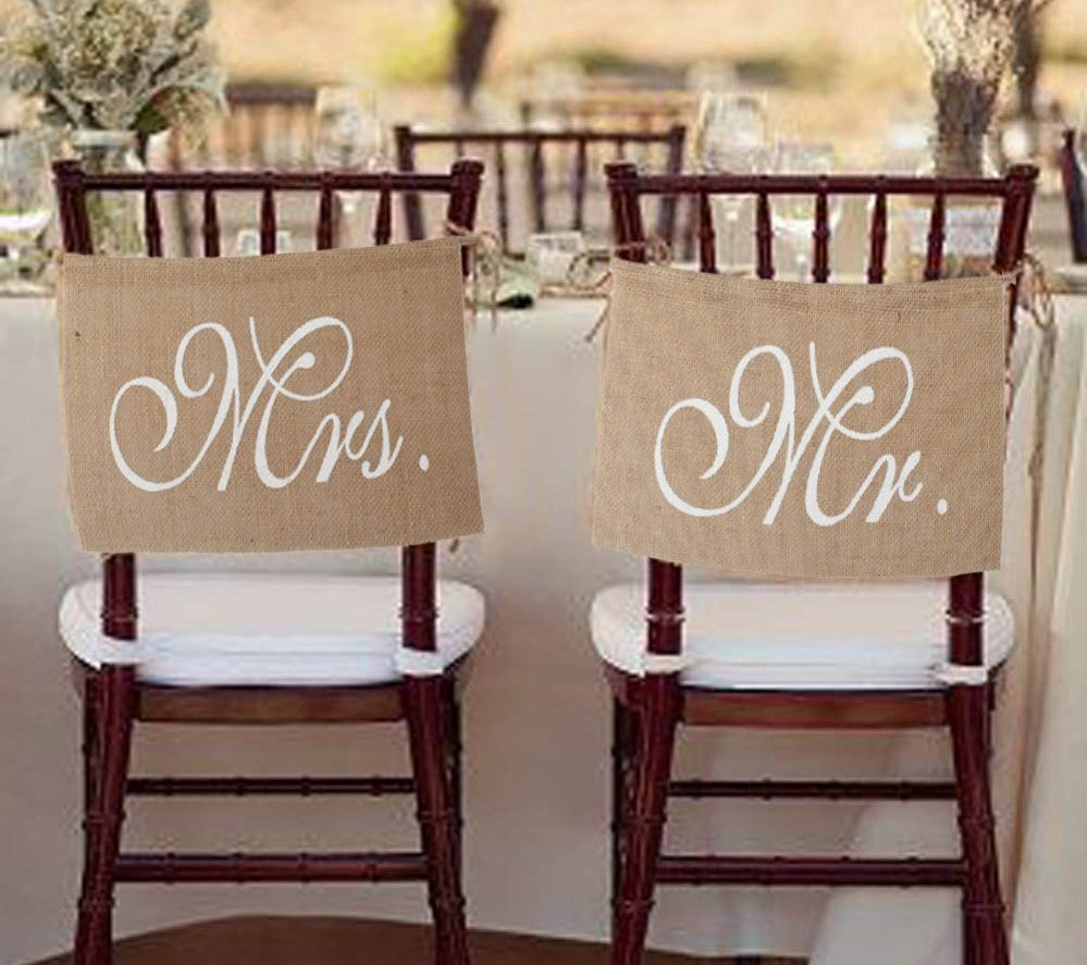 Vintage Rustic Wedding Banners Mr and Mrs Chair Sign Decoration Groom and Bride