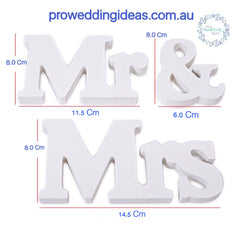 Mr & Mrs Wooden White Set Wedding Decoration Sign Table Gift Table