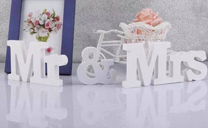 Mr & Mrs Wooden White Wedding Sign