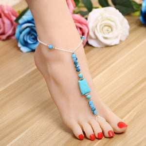 Pair Summer Jewelry Barefoot Sandals - Blue Crystal Seed Beads