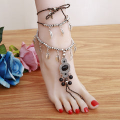 Pair Summer Jewelry Barefoot Sandals Ankle Bracelet Silver Anklets wedding beach Bride Black & silver