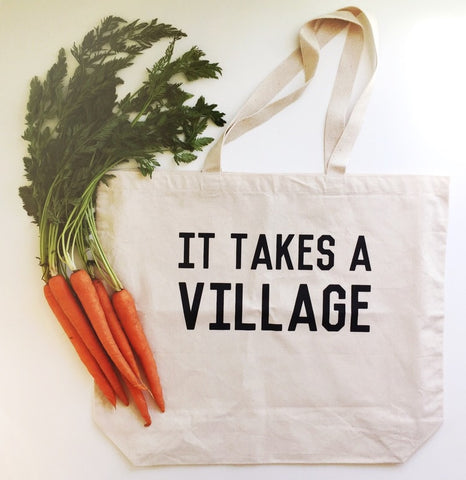 It Takes A Village Canvas tote