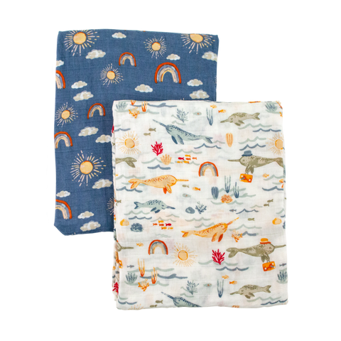 Narwhal/Hello Swaddle Set