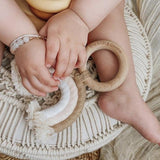 Tan & Blush Rainbow Macrame Teether