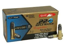 Aguila 22LR Ammunition Rifle Match 1B222518 40 Grain Lead Round Nose 50 rounds