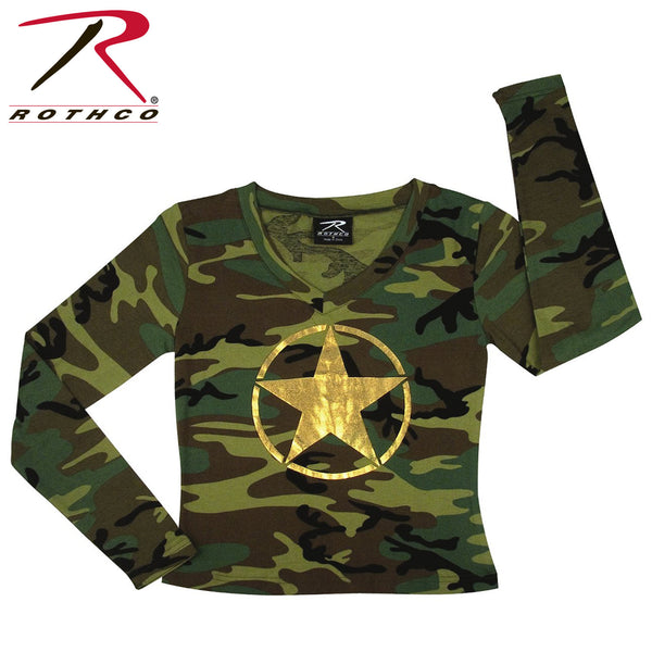 Rothco Womens Long Sleeve V-Neck T-Shirt w/ Foil Star On Front
