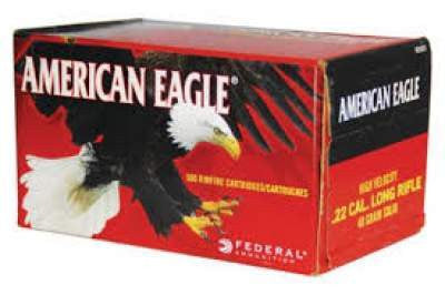 Federal American Eagle 22LR 40gr Solid Nose High Velocity AE5022 Box of 500