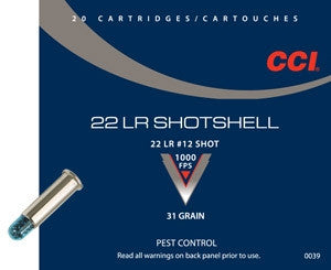 CCI 0039 22LR SHOTSHELL #12 Shot 31gr 20 rounds per box