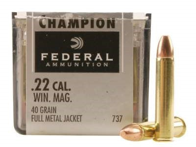 Federal 22 Mag Ammunition F737 40 grain Full Metal Jacket 50 rounds