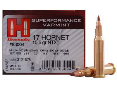 Hornady 17 Hornet Superformance Varmint #83004 15.5 gr NTX 25 per box