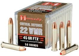 Hornady 22 WMR H83200 Critical Defense 45gr FTX 50 per box