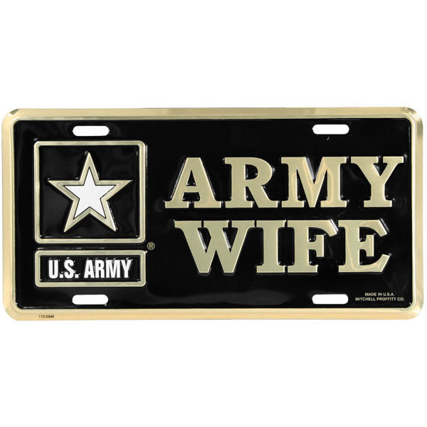 Army Wife with Army Star Logo License Plate