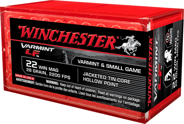 Winchester 22 WMR X22MHLF 28 gr Jacketed Tin-core HP 2200 FPS 50 per box