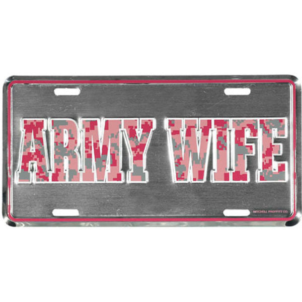 Army Wife Pink Digital License Plate