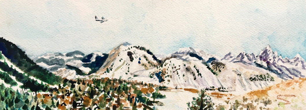 "Original 6x16"" Watercolor: Jackson Hole from the Butte"