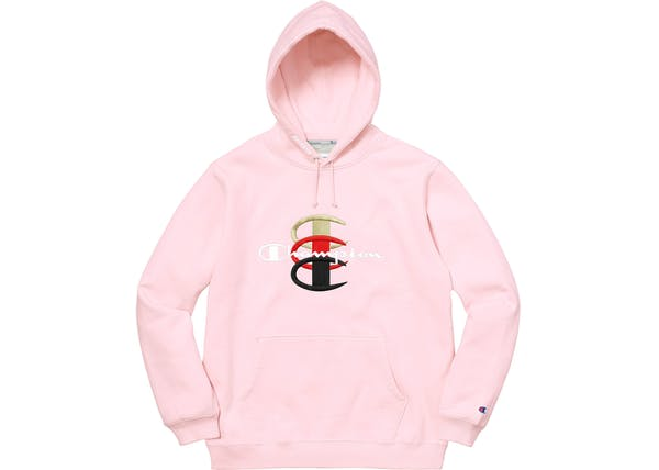 SUPREME X CHAMPION STACKED HOODED SWEATSHIRT