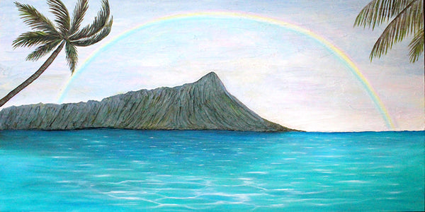 Diamond Head, diamond in the rough resin art by Jan Tetsutani