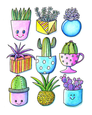 'Happy Cacti 2' Cards