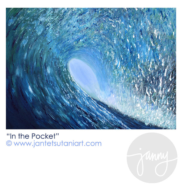 In the Pocket Original Acrylic Painting by Hawaii Artist Jan Tetsutani