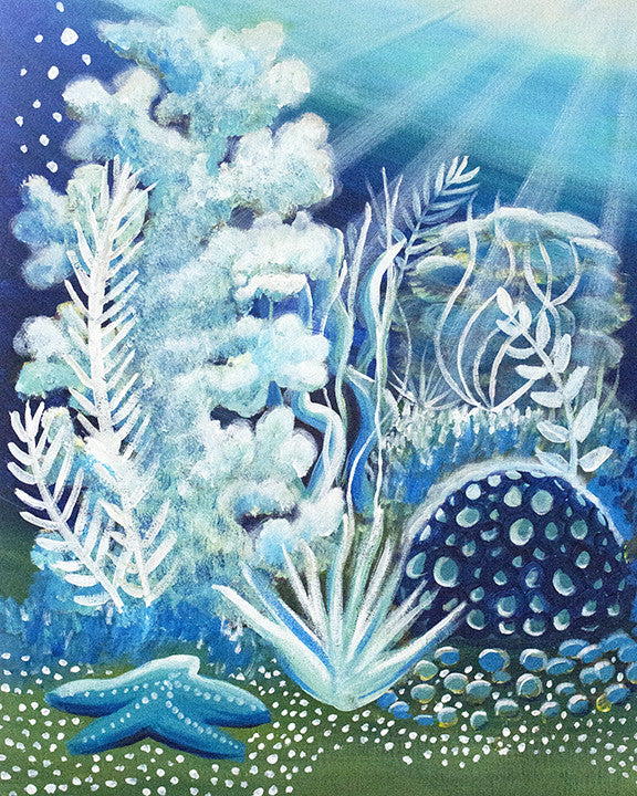 'Moonlight Coral 1' Original Acrylic Painting