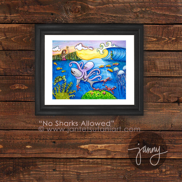 'No Sharks Allowed' Art Print