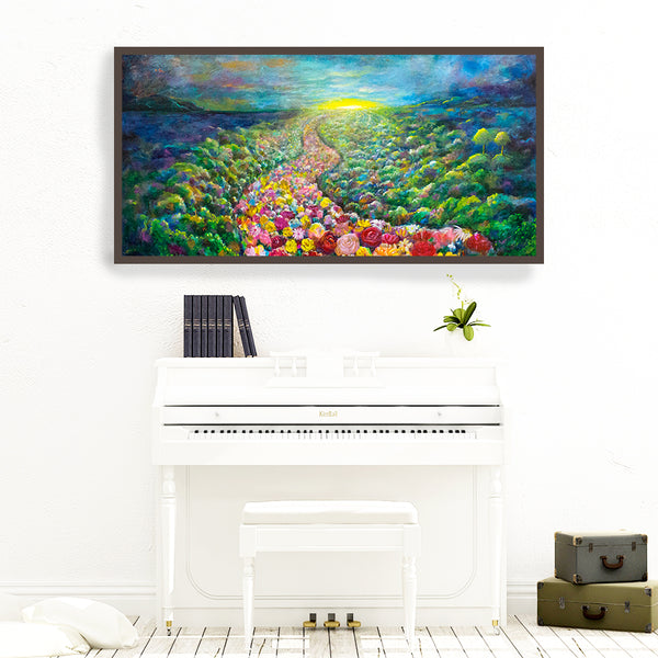 ''Sing Until the Dawn' original acrylic painting by Jan Tetsutani. Isaiah 54:1