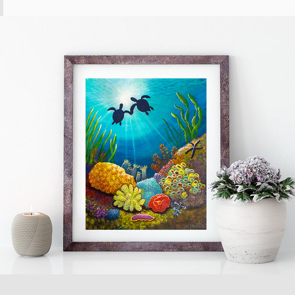 two turtles in love art print by jan tetsutani