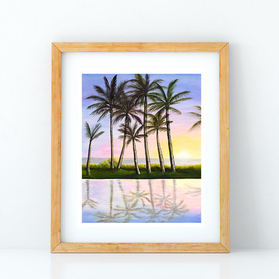 Adult Pool Sunset Acrylic Print by Jan Tetsutani Hawaii artist
