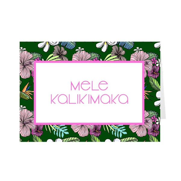 Mele Kalikimaka Christmas Cards Green