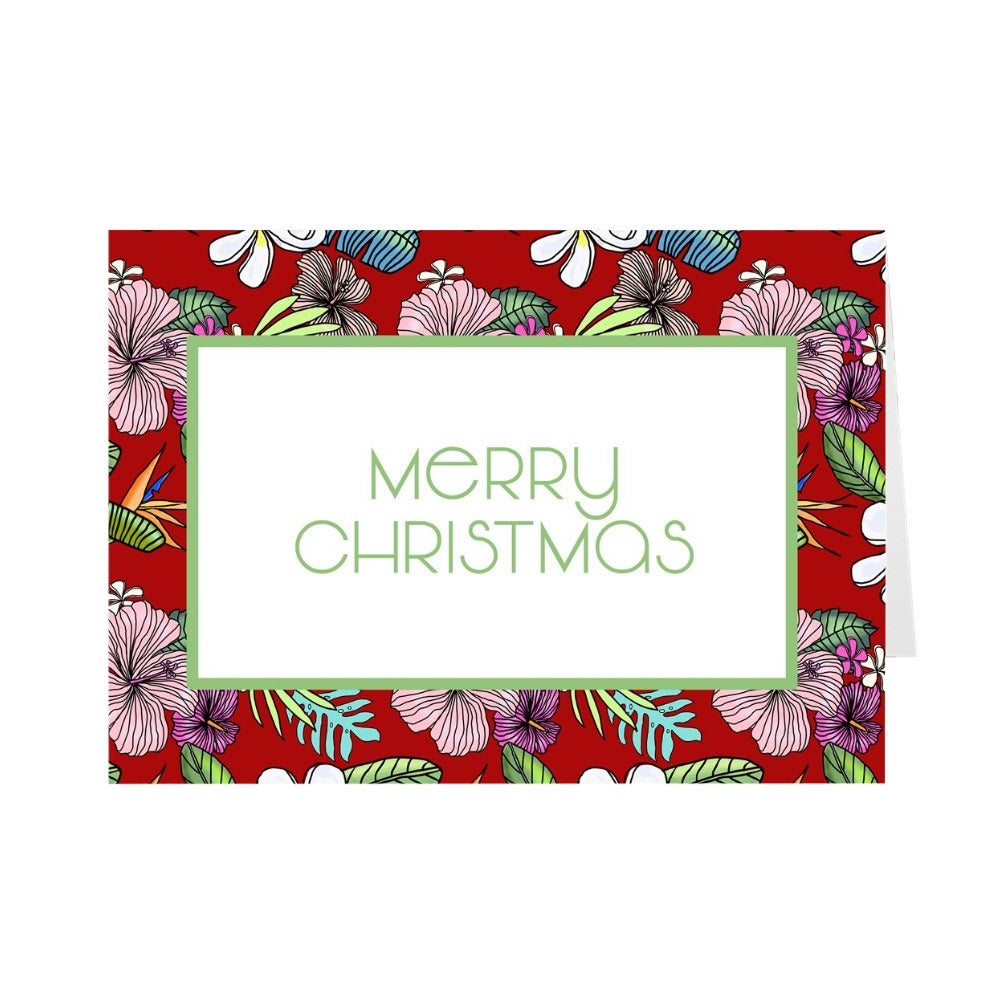 Merry Christmas Red Tropical Print Greeting Card by Jan Tetsutani