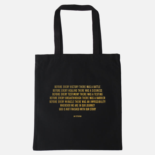 'I am a Child of God' & 'Before Breakthrough' Tote Bags with Gold Foil Print