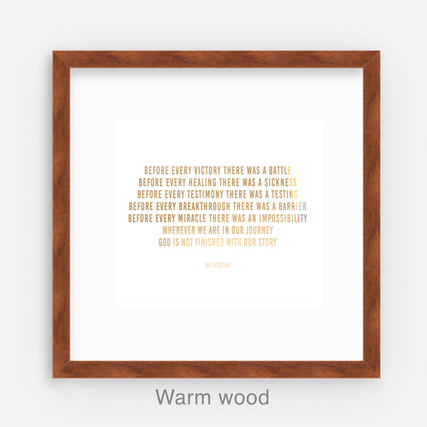 Custom warm wood frame, matting & assembly for 8 x 8 art print