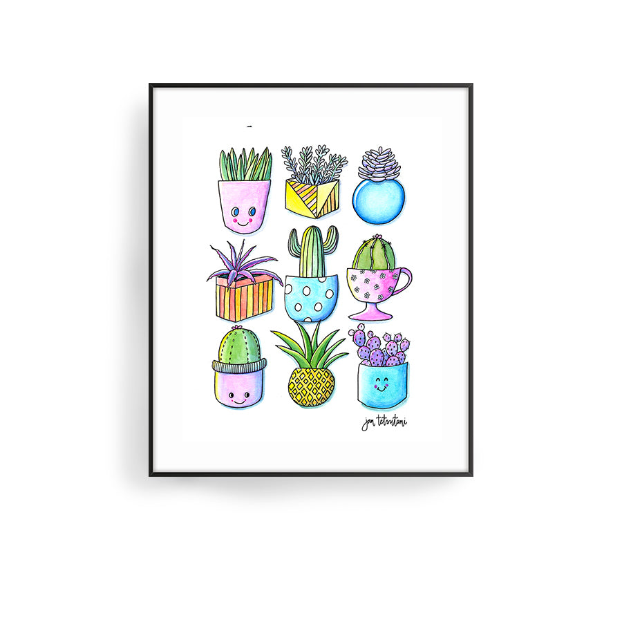 happy cacti 2 art print by hawaii artist jan tetsutani