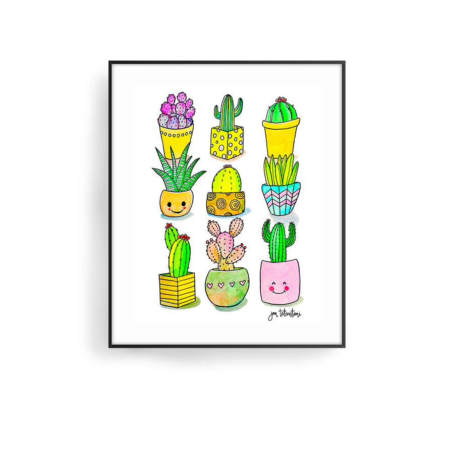 happy cacti by hawaii artist jan tetsutani cactus art