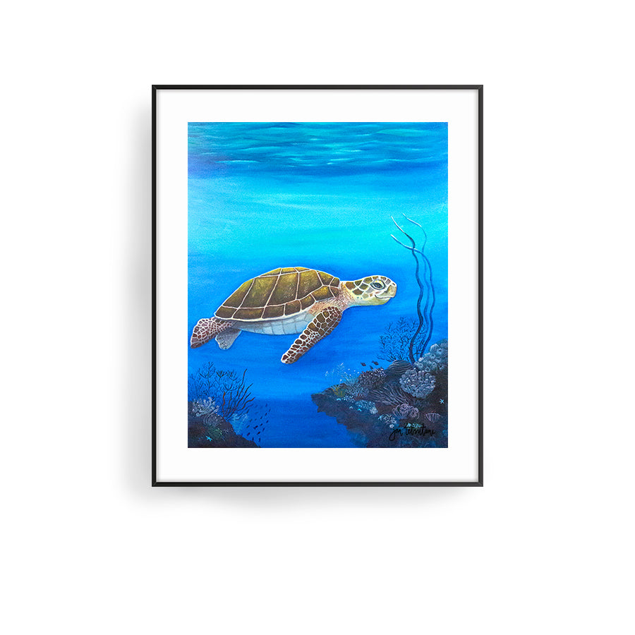 happy honu art print by hawaii artist jan tetsutani sea turtle