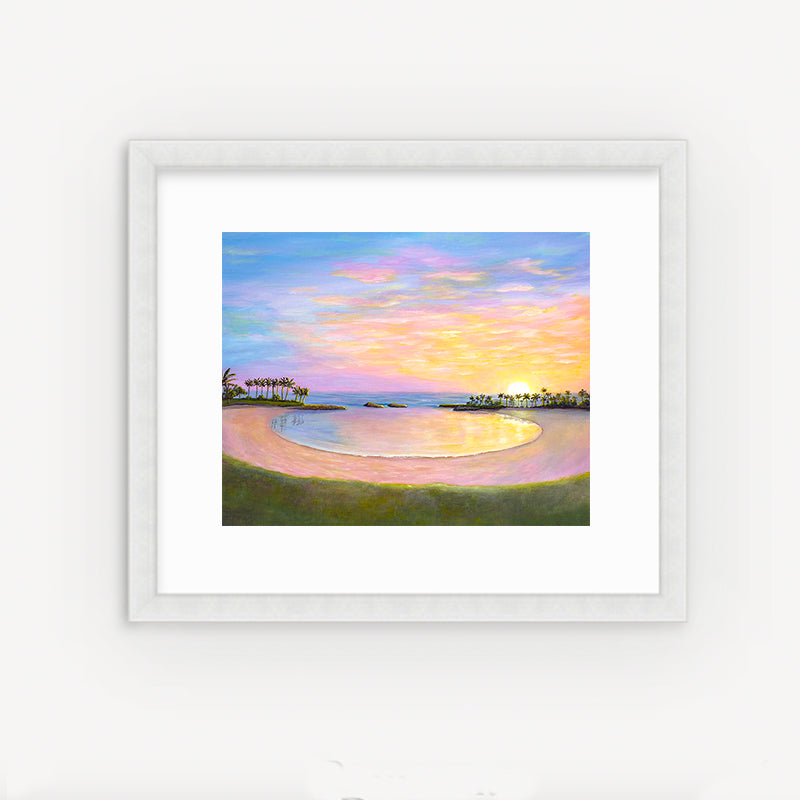 Koolina Sunset painting print by Hawaii artist Jan Tetsutani