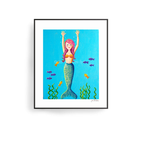 merry the mermaid art print by jan tetsutani