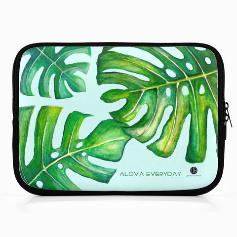 Mint Monstera iPad Neoprene Sleeve by Jan Tetsutani