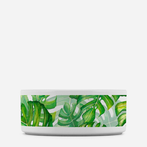 Pet bowl with monstera leaves for your dog or cat.