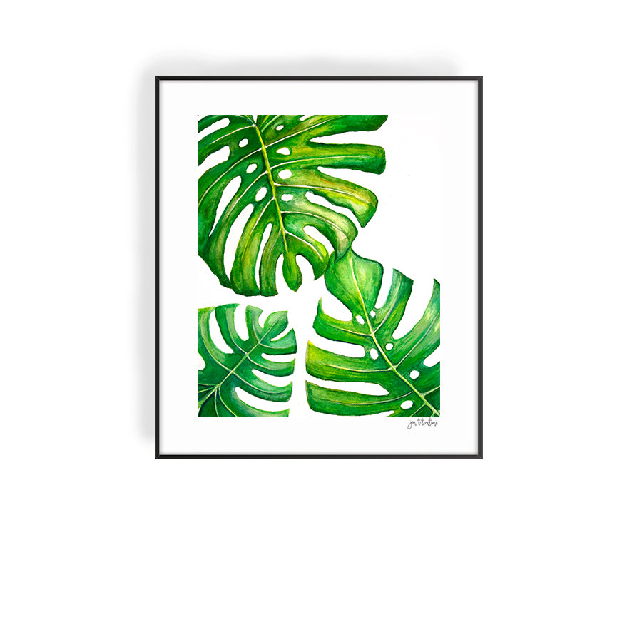 Monstera leaves art print by Hawaii artist Jan Tetsutani titled 'Monstera Trinity'. If you are looking for Hawaiian art wall decor this tropical print with be a lovely additional to your coastal lifestyle.