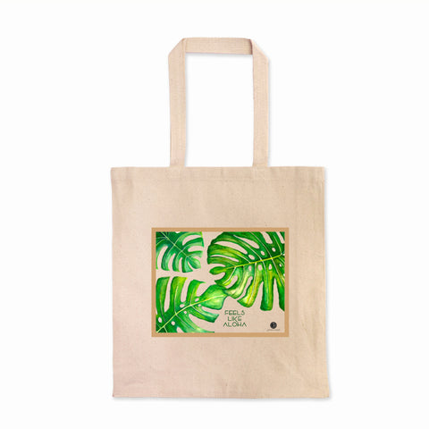 Monstera Canvas Tote Bag by Jan Tetsutani