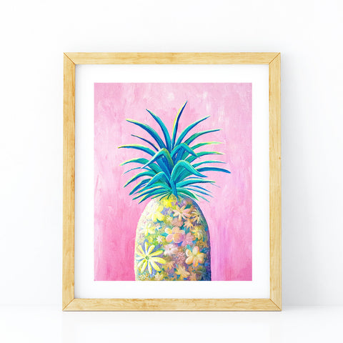 'Pineapple Flower Play Date' Art Print