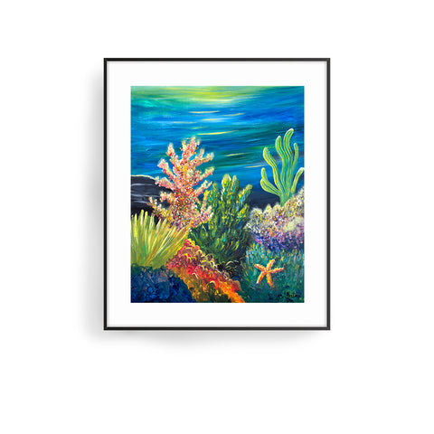 sea garden art print by jan tetsutani coral art
