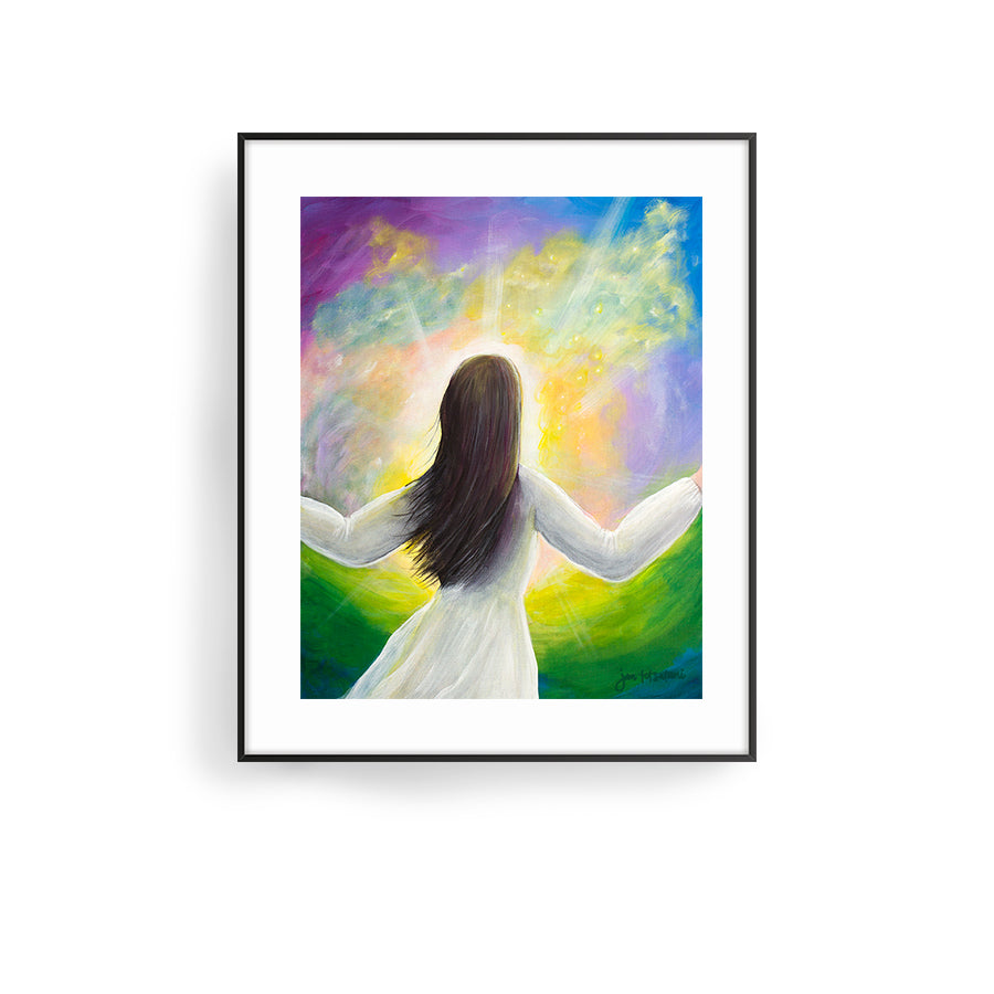 the best place to be art print by hawaii artist jan tetsutani in his presence