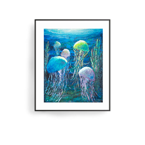 time to rise art print by jan tetsutani jellyfish